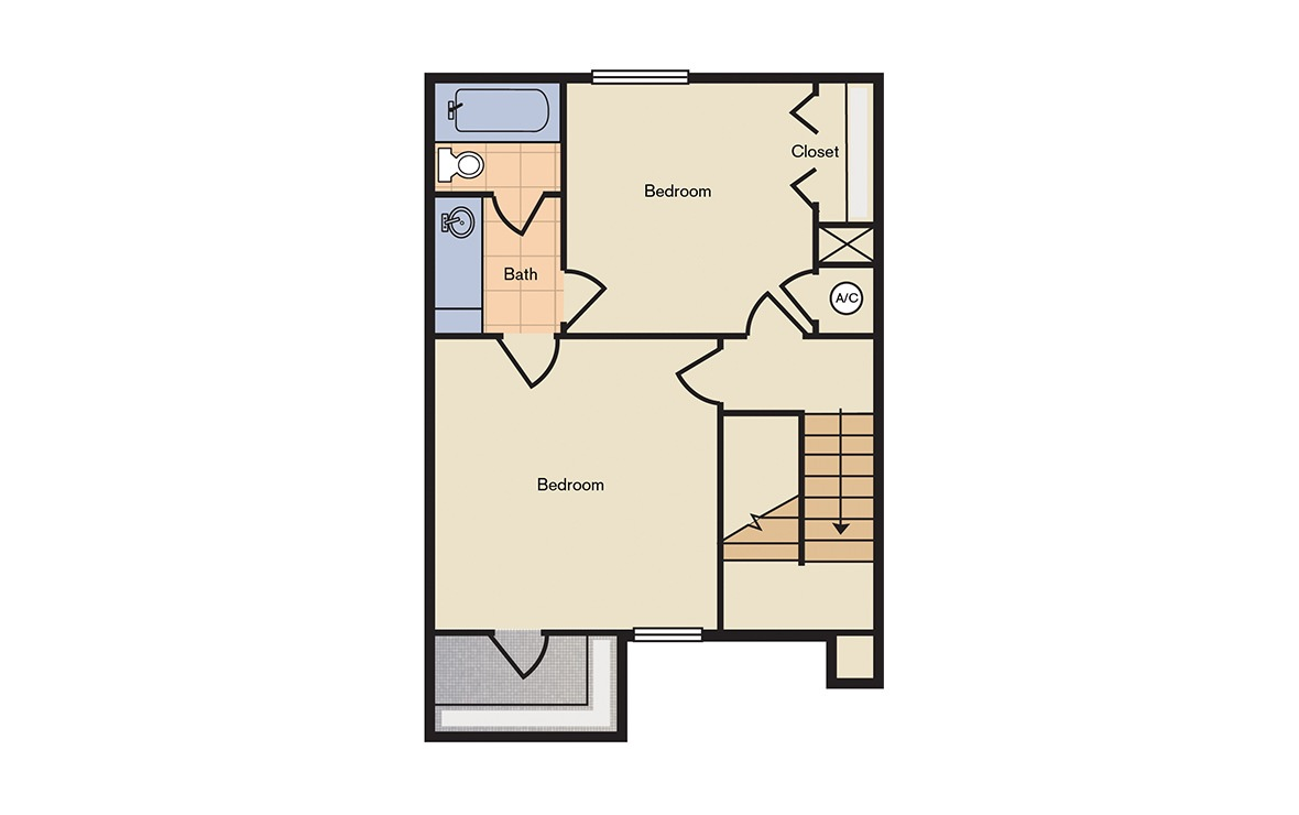 Floorplan 2 - 2 bedroom floorplan layout with 1.5 bath and 952 square feet (2nd floor 2D)