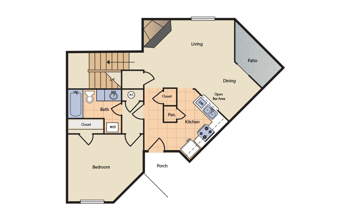 Floorplan 5 - 3 bedroom floorplan layout with 2 bath and 1200 square feet (1st floor 2D)