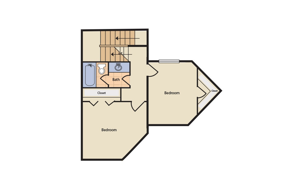 Floorplan 5 - 3 bedroom floorplan layout with 2 bath and 1200 square feet (2nd floor 2D)