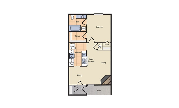 Floorplan 1 - 1 bedroom floorplan layout with 1 bath and 624 square feet