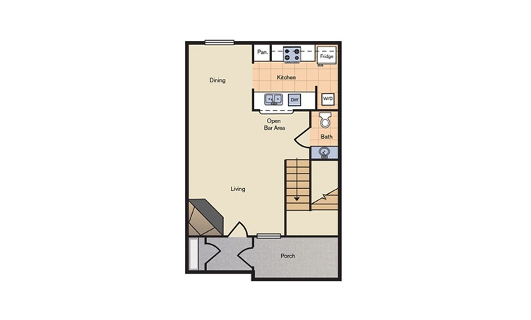 Floorplan 2 - 2 bedroom floorplan layout with 1.5 bath and 952 square feet