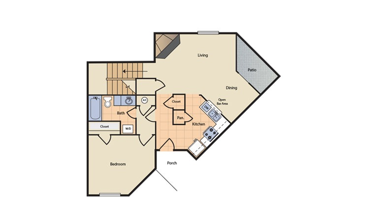 Floorplan 5 - 3 bedroom floorplan layout with 2 bath and 1200 square feet